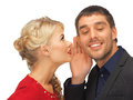 Man and woman spreading gossip bright picture of men women focus on Royalty Free Stock Photo