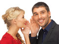 Man and woman spreading gossip bright picture of men women focus on Royalty Free Stock Images