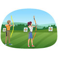Man and woman standing with bows and aiming to the target vector illustration.