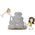 Man woman stress problems couple vector illustration of cartoon characters young and smashing rocks labeled job fears worries Stock Photo