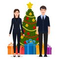 Man and woman in a suit standing near the Christmas tree, cartoon characters vector illustration