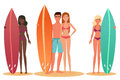 Man and woman surfer standing, holding a surfboard. Cartoon people couple surfers. White and black african young people.