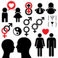 Man and woman symbol set couple Stock Photos