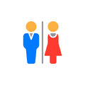 Man and Woman toilet icon vector, filled flat sign, solid colorful pictogram isolated on white.