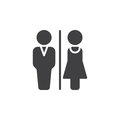 Man and Woman toilet icon vector, filled flat sign, solid pictogram isolated on white.