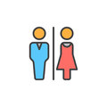 Man and Woman toilet line icon, filled outline vector sign, linear colorful pictogram isolated on white.