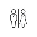 Man and Woman toilet line icon, outline vector sign, linear pictogram isolated on white. Royalty Free Stock Photo