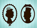 Man and woman vintage silhouettes in frames Stock Photography