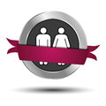 Man and woman web button illustration of or male female website with ribbon white background Royalty Free Stock Image