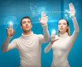Man and woman working with virtual screens picture of men women Stock Image