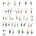 Man and woman workout fitness, aerobic and exercises. Vector