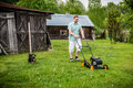 Man at work with his dog friend Royalty Free Stock Photo