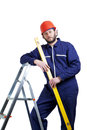 Man worker on the ladder isolated white Royalty Free Stock Image