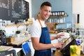 Photo : Man working in coffee shop girl  meeting