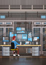 Man Working In Data Center Room Hosting Server Computer Monitoring Information Database Royalty Free Stock Photo