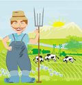 Man working in green meadow illustration Stock Photos