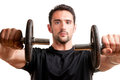 Man working out with dumbbels personal trainer doing front dumbell raises for training his deltoids isolated in white Stock Photography