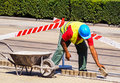 Man is working at the road construction Royalty Free Stock Photo