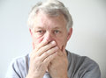 Man worried about his bad breath Royalty Free Stock Photography