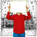 Man with write board against his head christmas concept vector in hands Stock Images