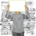 Man with write board against his head idea concept vector in hands Royalty Free Stock Images