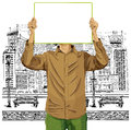 Man with write board against his head idea concept vector in hands Stock Images