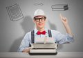 Man writer young with typing machine waiting for inspiration Royalty Free Stock Photography