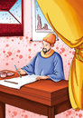 A man is writing calligraphy using a chinese paint brushin ancient china in his houseï œhe wore a yellow hat dressed in a blue Royalty Free Stock Photos