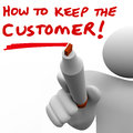 Man writing how to keep the customer on board written a whie by a teacher or instructor giving you a lesson retention and Royalty Free Stock Images