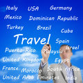 Man writing the names of travel destinations young on an imaginary board international with sky as background Royalty Free Stock Photo