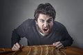 Man yelling angry stressed an and screaming Royalty Free Stock Photos
