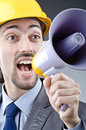 Man yelling with loudspeaker Royalty Free Stock Photos