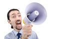 Man yelling with loudspeaker Stock Images