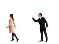 Man yelling at the outgoing woman aggressive men isolated on white background Stock Photo