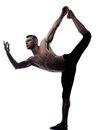 Man yoga asanas natarajasana dancer pose Royalty Free Stock Photo