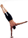 Man yoga handstand full length gymnastic Stock Images