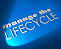 Manage the lifecycle d words develop sales process procedure on blue background to illustrate need to oversee development and Stock Photo