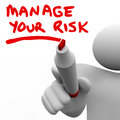 Manage your risk manager writing words marker risks written by a or other person to encourage you to consider potential negative Royalty Free Stock Image