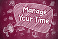 Manage Your Time - Doodle Illustration on Red Chalkboard. Royalty Free Stock Photo