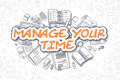 Manage Your Time - Doodle Orange Text. Business Concept.