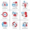 Management Business Team Leadership Icon Set Occupation Training