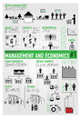 Management finance economics infographics vector drawing icon set and about and Stock Image