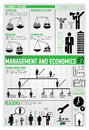 Management finance economics infographics vector drawing icon set and about and Stock Photos