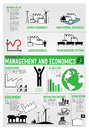 Management finance economics infographics vector drawing icon set and about and Royalty Free Stock Photo