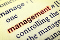 Management the word highlighted in red selective focus in the middle of word Royalty Free Stock Photo