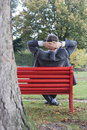 Manager on park bench Royalty Free Stock Photos
