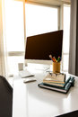 Manager Table with Desktop Computer and Business Notes Royalty Free Stock Photo