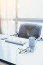 Manager Table with Desktop Computer and eye glasses Royalty Free Stock Photo