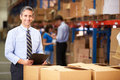 Manager In Warehouse Checking Boxes Royalty Free Stock Photo