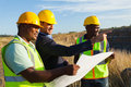 Manager worker quarry mine and workers at discussing future plan Royalty Free Stock Image